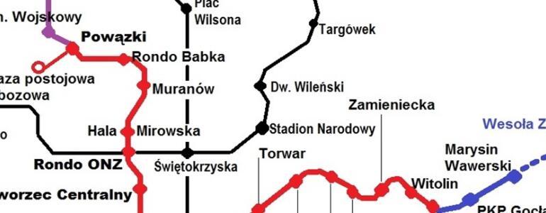 """Nowa trasa trzeciej linii metra według autora bloga """"Autobus Czerwony"""" (<a href=""""http://autobusczerwony.blox.pl/2017/01/Czas-wyznaczyc-nowa-trase-III-linii-metra.html"""" target=""""_blank"""">żródło</a>)"""