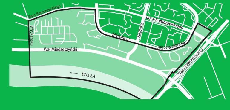 Plan zagospodarowania okolic Wału Miedzeszyńskiego